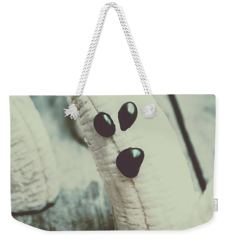 Healthy Weekender Tote Bag featuring the photograph Banana Halloween Ghosts by Jorgo Photography - Wall Art Gallery