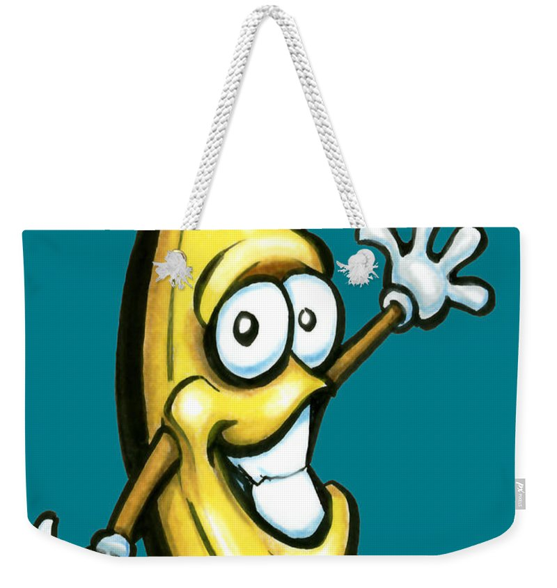 Banana Weekender Tote Bag featuring the painting Banana by Kevin Middleton
