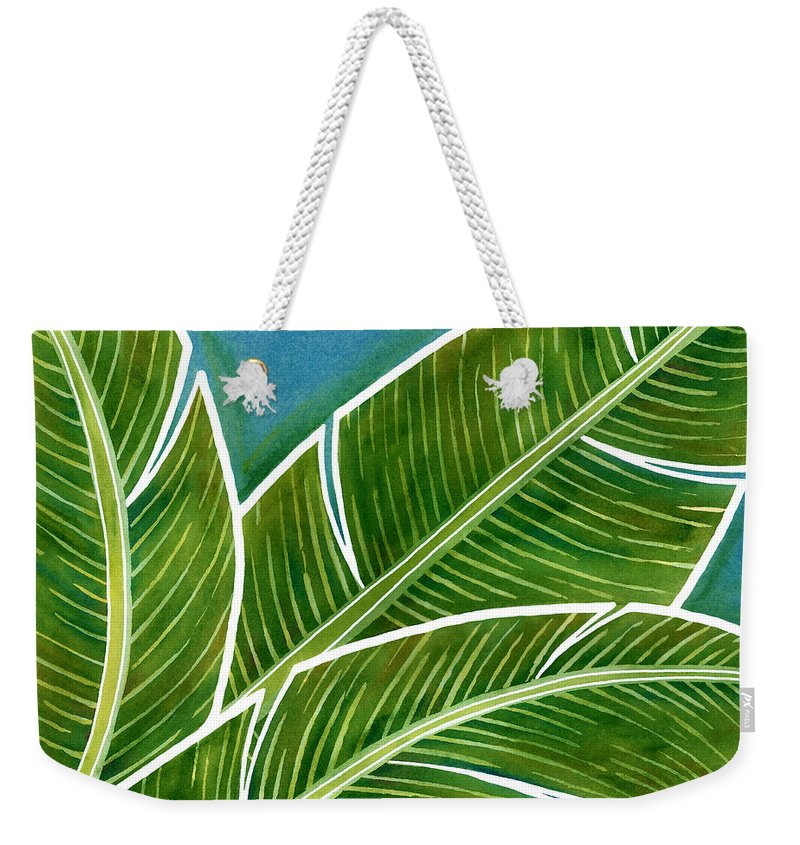 Hawaii Weekender Tote Bag featuring the painting Banana Leaf Abstract by Julie Senf