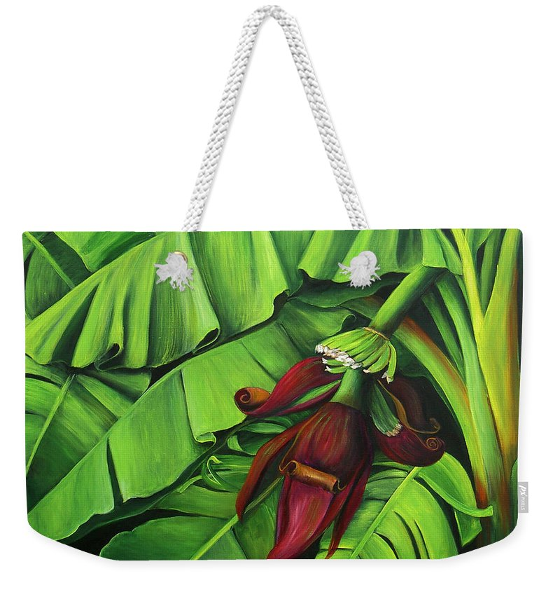 Banana Tree Weekender Tote Bag featuring the painting Banana Tree Flower by Dominica Alcantara