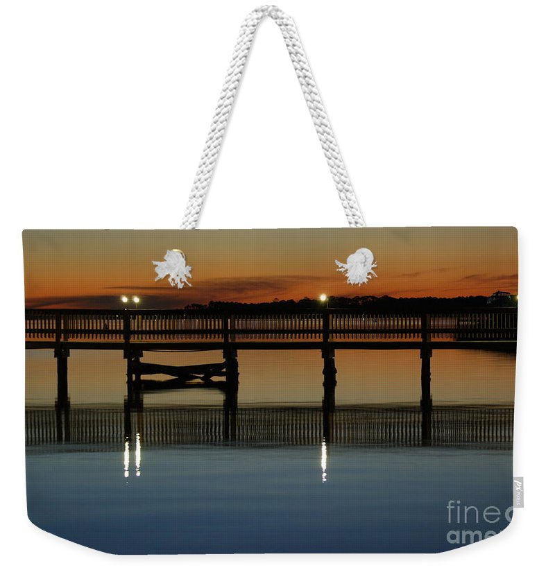 Pier Weekender Tote Bag featuring the photograph Calm Waters by Jennifer Diaz
