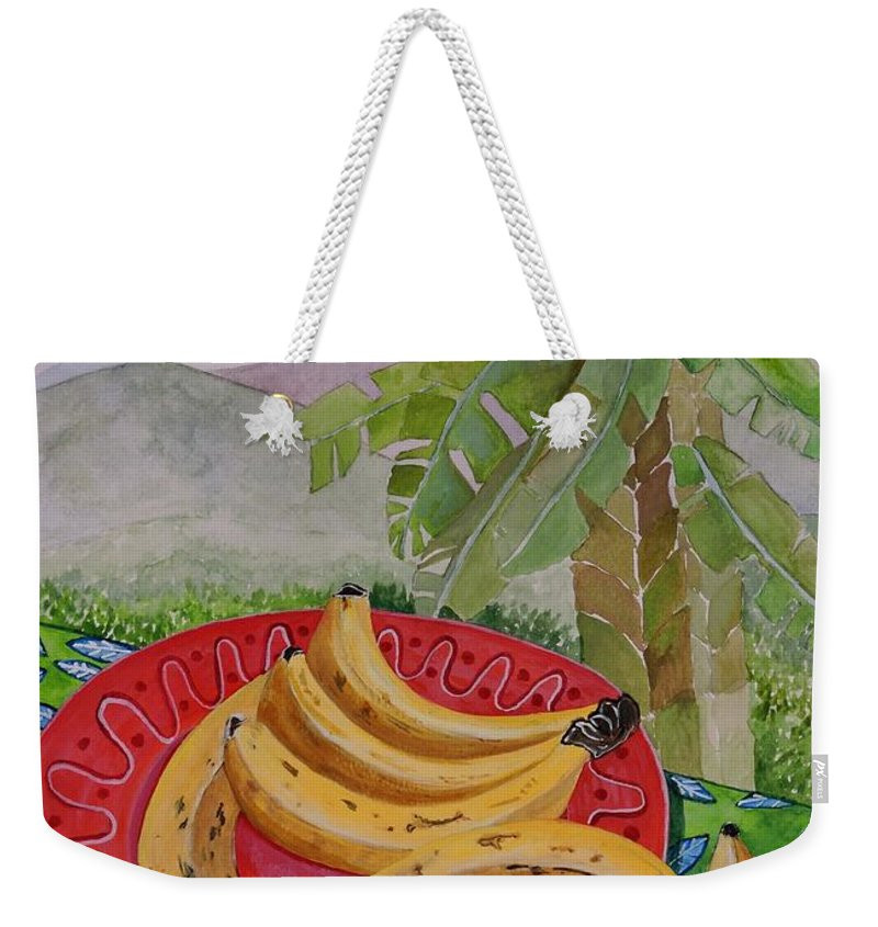 Bananas Weekender Tote Bag featuring the painting Bananas On A Plate by Caroline Street