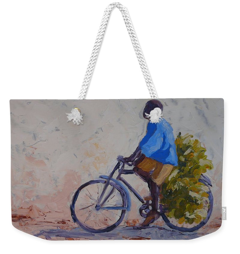 Bicycle Weekender Tote Bag featuring the painting Bananas by Yvonne Ankerman