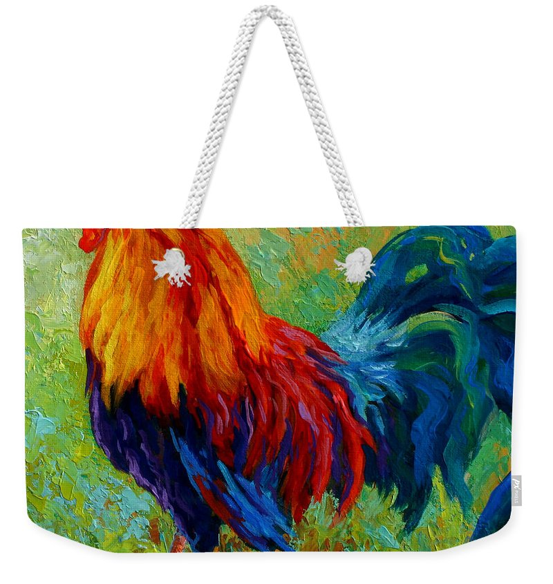 Rooster Weekender Tote Bag featuring the painting Band Of Gold by Marion Rose