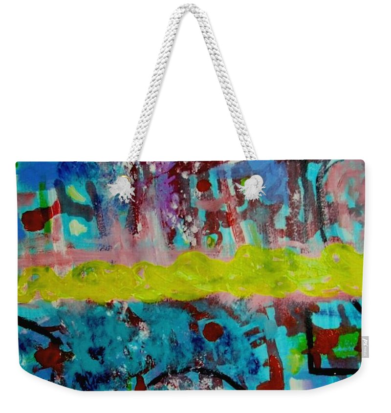 Abstracts Weekender Tote Bag featuring the painting Band Of Gold by Rusty Gladdish