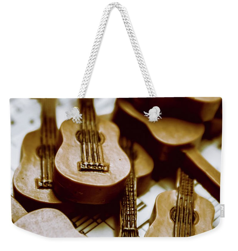 Music Weekender Tote Bag featuring the photograph Band Of Live Acoustic Guitars by Jorgo Photography - Wall Art Gallery