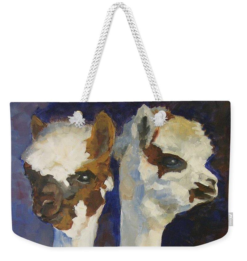 Alpacas Weekender Tote Bag featuring the painting Bandolero And Carlos by Mary McInnis