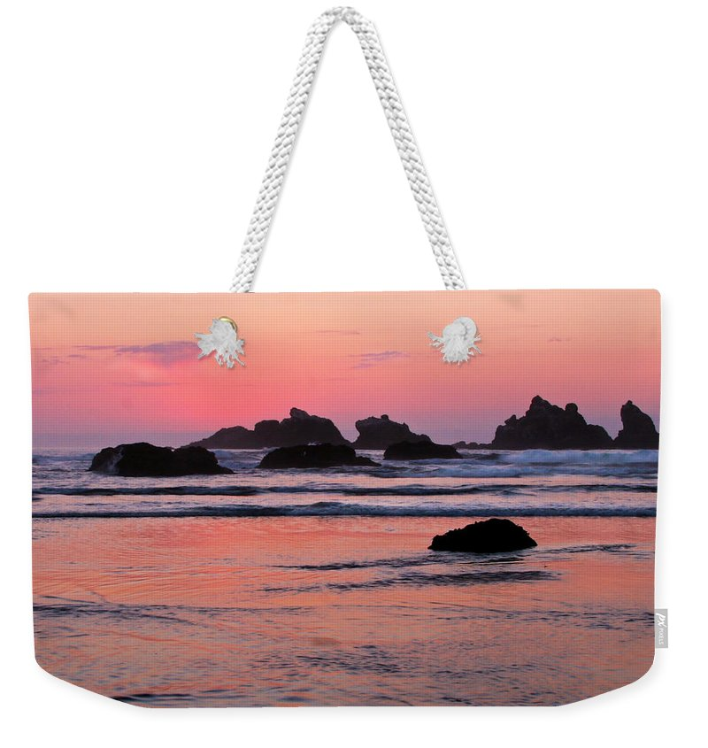 Bandon Beach Sunset Weekender Tote Bag featuring the photograph Bandon Beach Sunset Silhouette by Jean Noren
