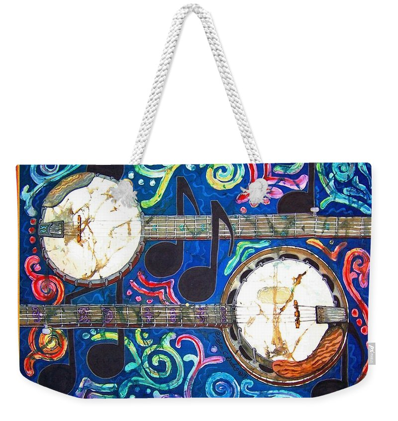 Banjo Weekender Tote Bag featuring the painting Banjos - Bordered by Sue Duda