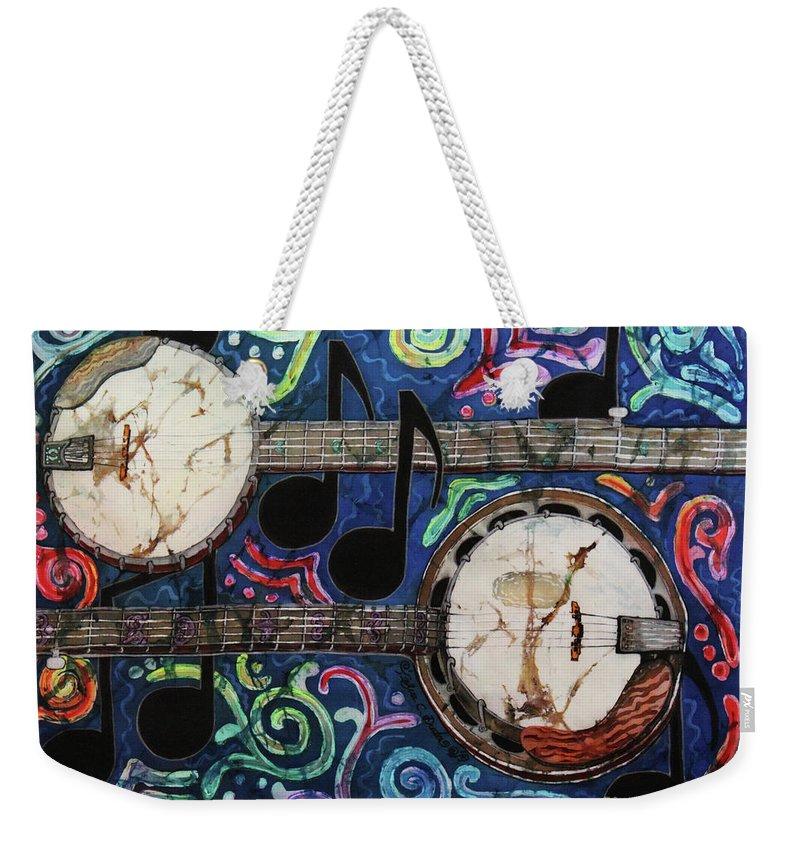 Banjo Weekender Tote Bag featuring the painting Banjos by Sue Duda
