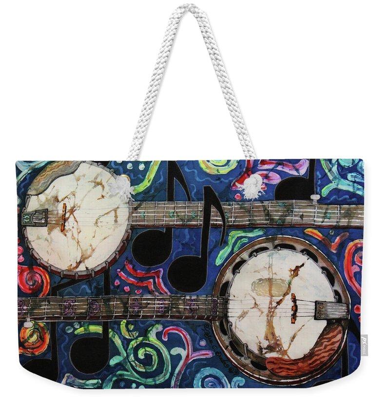 Banjos Weekender Tote Bag featuring the painting Banjos by Sue Duda