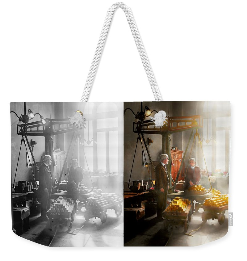 Colorized Weekender Tote Bag featuring the photograph Banker - Worth Its Weight In Gold 1917 Side By Side by Mike Savad