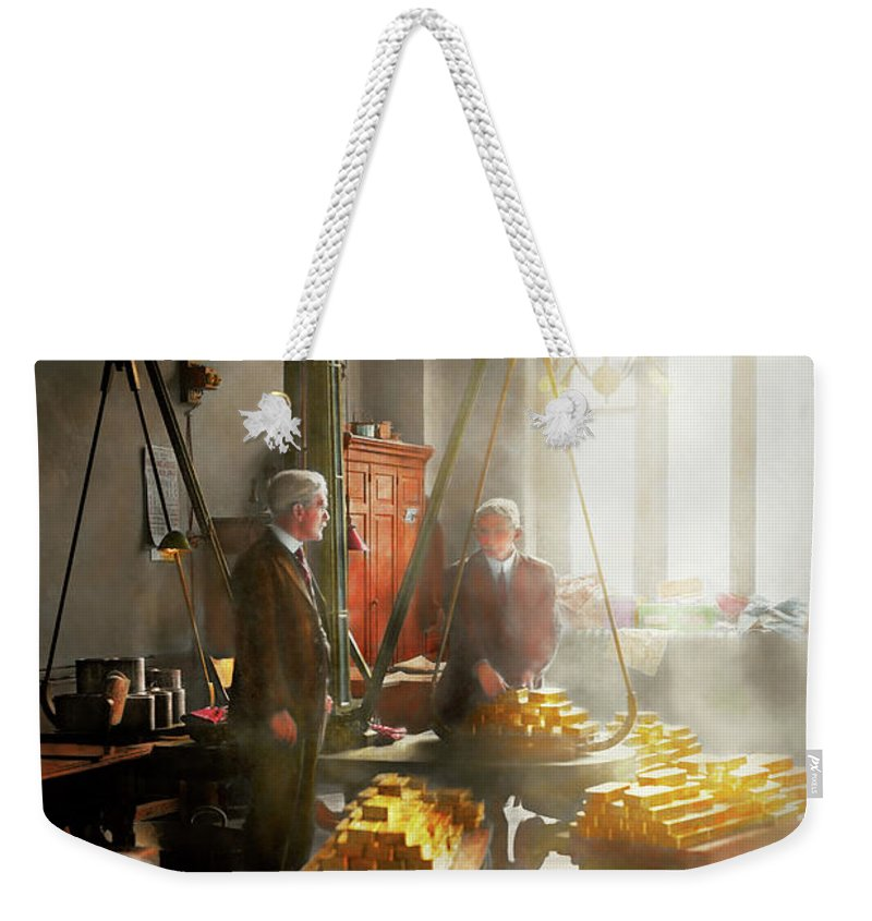 Colorized Weekender Tote Bag featuring the photograph Banker - Worth Its Weight In Gold by Mike Savad