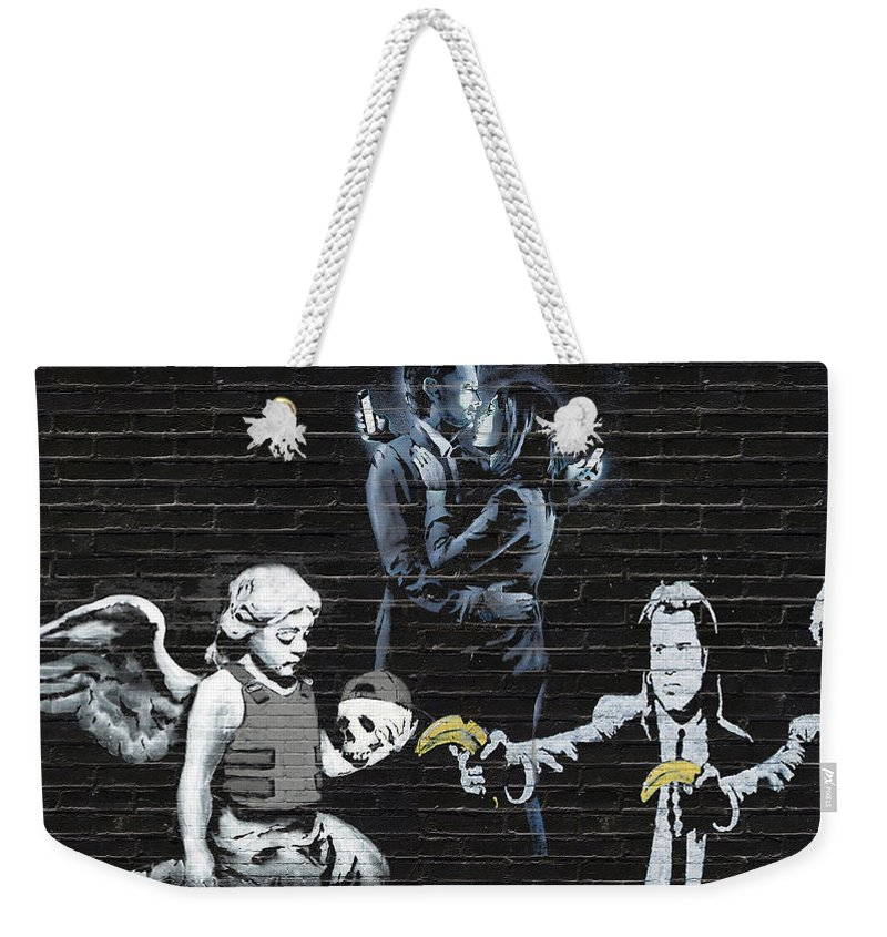 'urban Graffiti' By Serge Averbukh Weekender Tote Bag featuring the photograph Banksy - Failure To Communicate by Serge Averbukh