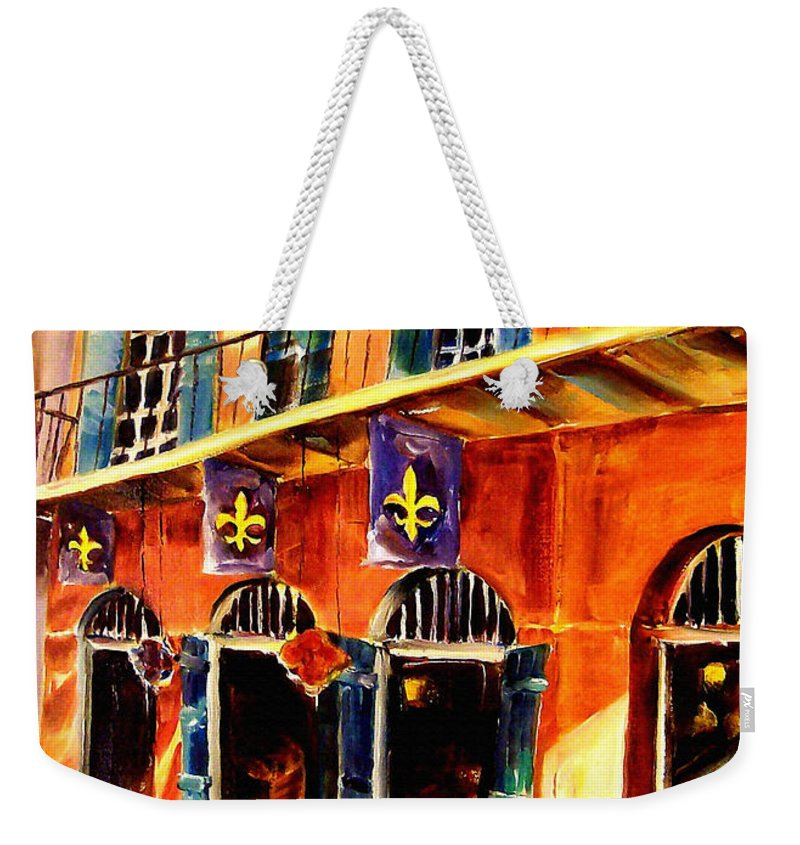 New Orleans Weekender Tote Bag featuring the painting Banners On Royal Street by Diane Millsap