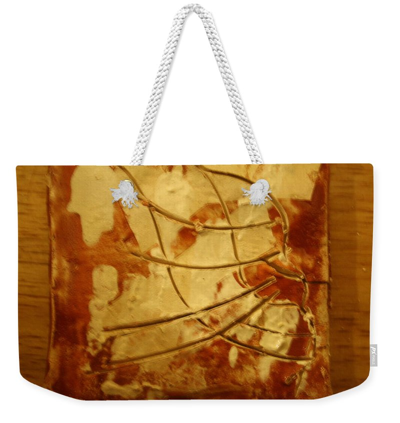 Jesus Weekender Tote Bag featuring the ceramic art Bantu - Tile by Gloria Ssali