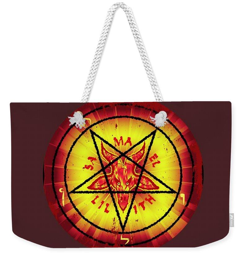 Baphomet Weekender Tote Bag featuring the digital art Baphomet #2 by Frederick Holiday