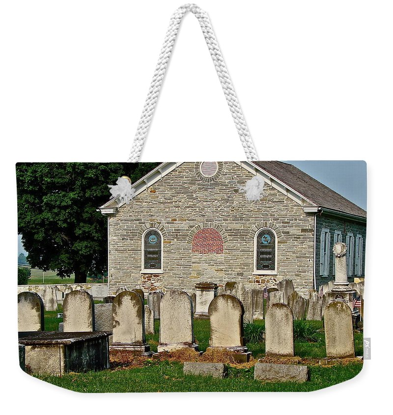 Church Weekender Tote Bag featuring the photograph Baptize Marry Bury by Diana Hatcher