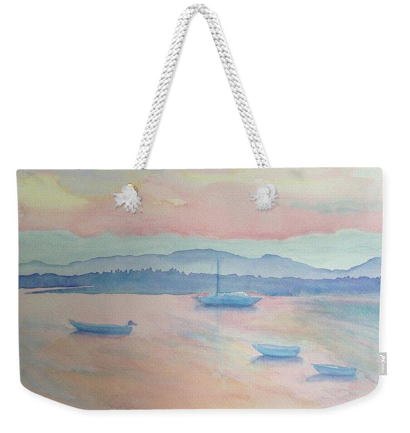 Sunrise Weekender Tote Bag featuring the painting Bar Harbor by Belinda Balaski