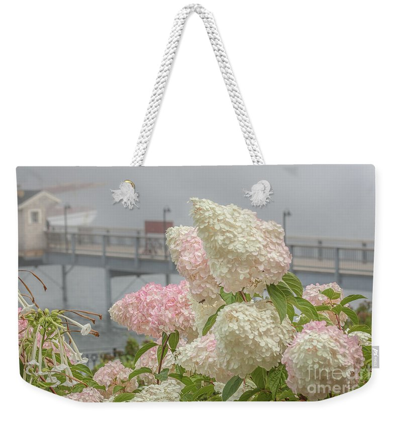 Fog Weekender Tote Bag featuring the photograph Bar Harbor Flowers In The Fog by Monica Hall