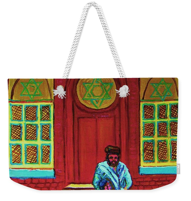 Synagogues Weekender Tote Bag featuring the painting Bar Mitzvah Lesson At The Synagogue by Carole Spandau