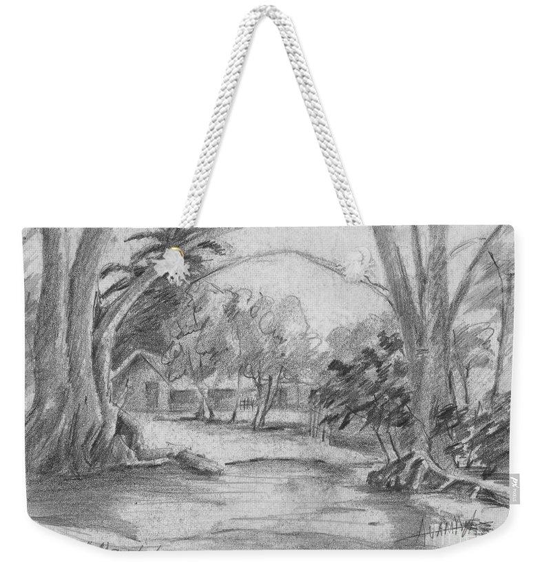 Anthony Van Dyk Weekender Tote Bag featuring the drawing Bara De Navidad Farmhouse by Dorothy Hilde