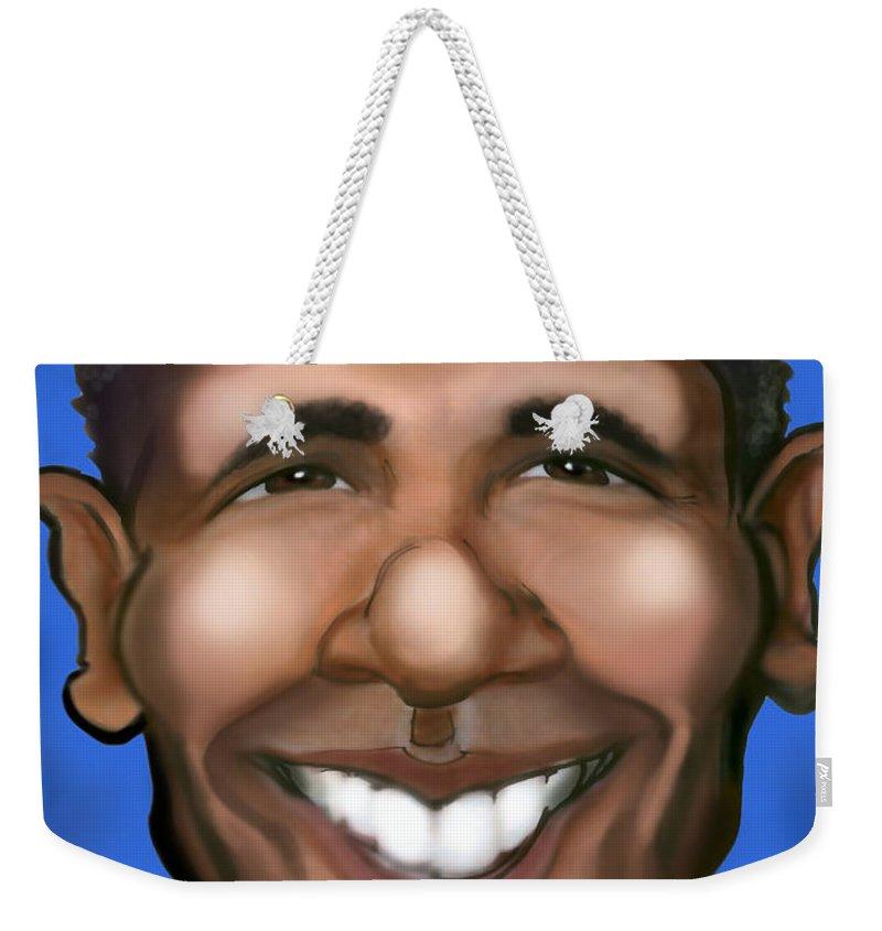 Barack Obama Weekender Tote Bag featuring the painting Barack Obama by Kevin Middleton