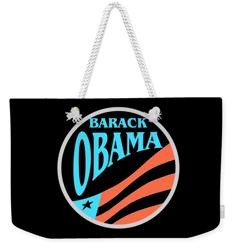 Obama Weekender Tote Bag featuring the mixed media Barack Obama Design by Peter Potter