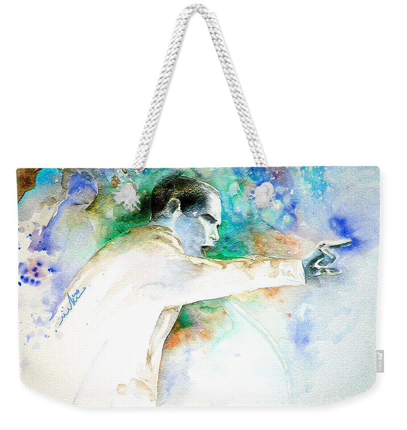 Portrait Barack Obama Weekender Tote Bag featuring the painting Barack Obama Pointing At You by Miki De Goodaboom