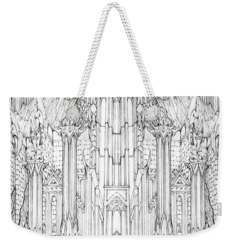 Barad-dur Weekender Tote Bag featuring the drawing Barad-dur Gate Study by Curtiss Shaffer