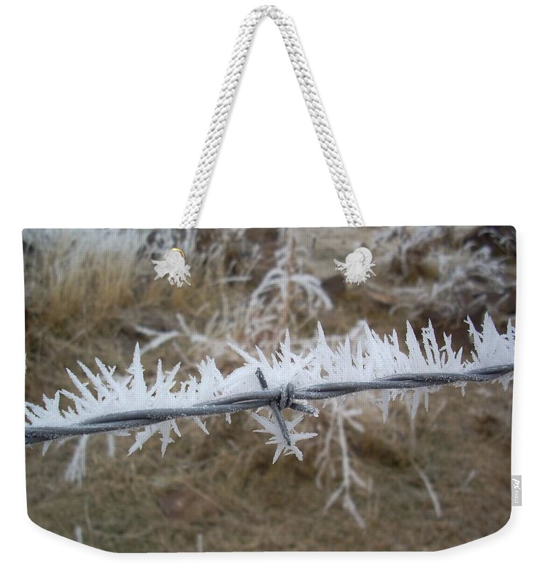 Fence Weekender Tote Bag featuring the photograph Barb Wire by Sara Stevenson