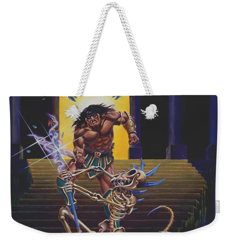 Fantasy Weekender Tote Bag featuring the painting Barbarian And Skeleton Wizard by Melissa A Benson