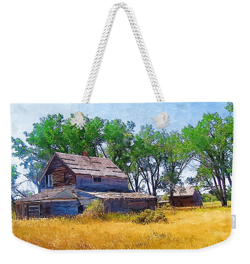 Barber Montana Weekender Tote Bag featuring the photograph Barber Homestead by Susan Kinney