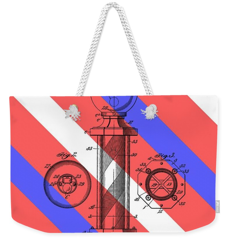Barber Pole Patent Weekender Tote Bag featuring the drawing Barber Pole Patent by Dan Sproul