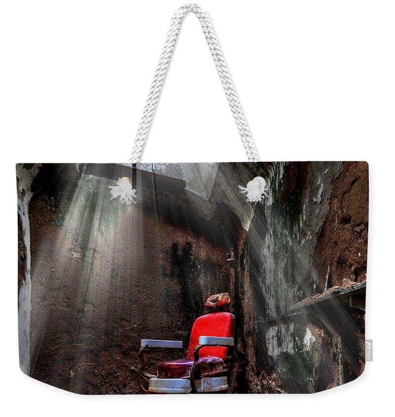 Abandoned Weekender Tote Bag featuring the photograph Barber Shop by Evelina Kremsdorf