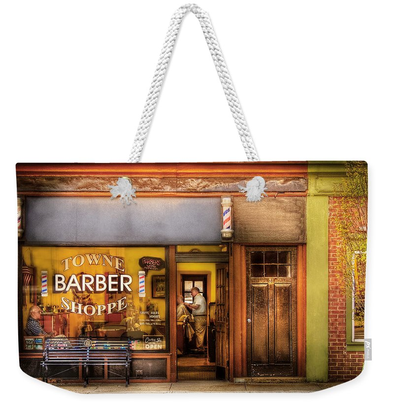 Hair Weekender Tote Bag featuring the photograph Barber - Towne Barber Shop by Mike Savad