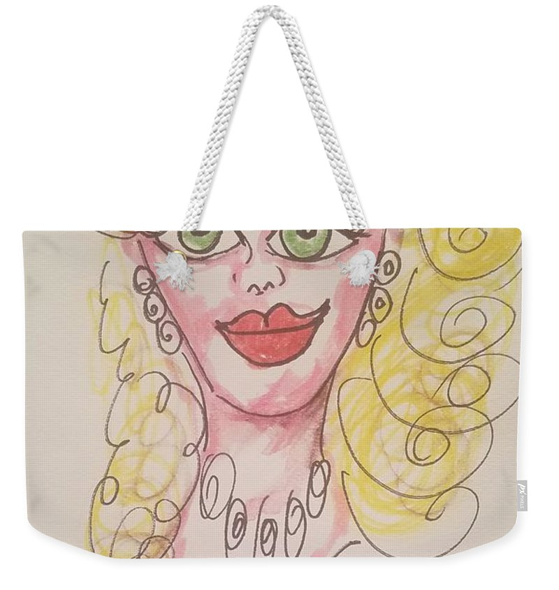 Barbie Weekender Tote Bag featuring the drawing Barbie by Geraldine Myszenski