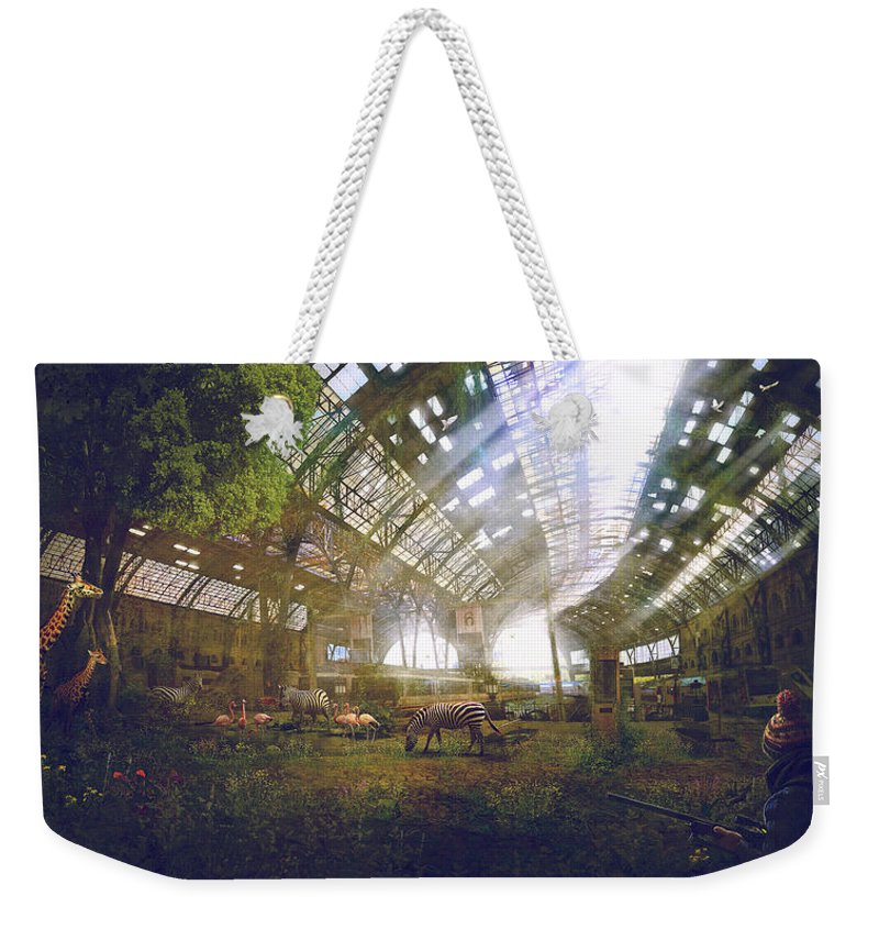 Sciencie Fiction Weekender Tote Bag featuring the painting Barcelona Aftermath Estacio De Franca by Guillem H Pongiluppi