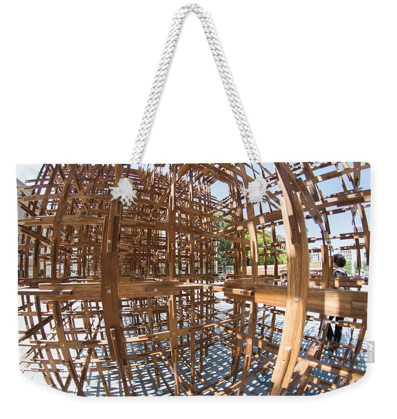 Barcelona Weekender Tote Bag featuring the photograph Barcelona Sculpture, Spain by Nicole Freedman