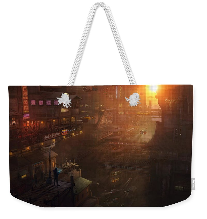 Scifi Weekender Tote Bag featuring the painting Barcelona Smoke And Neons Districte Sant Joan by Guillem H Pongiluppi