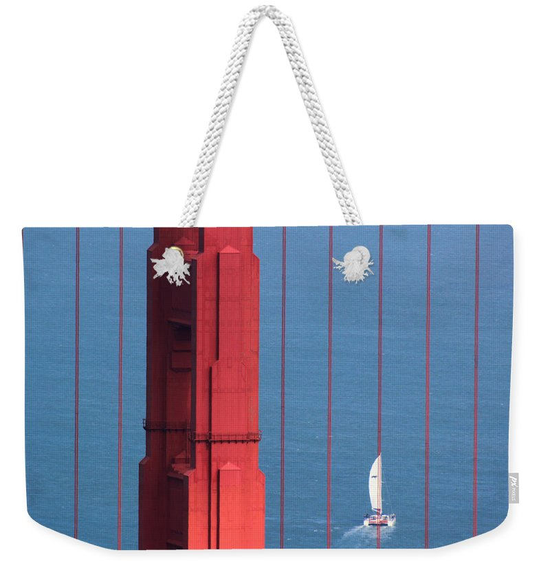 Barcode Weekender Tote Bag featuring the photograph Barcode Of The Bay Scanned With Sails On A Beautiful Day by Nick Mattea
