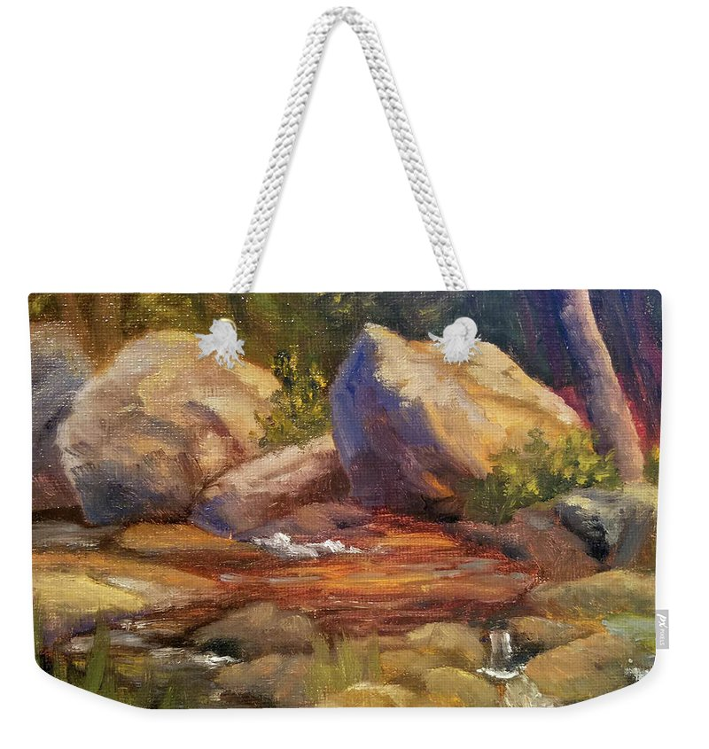 Rocks Weekender Tote Bag featuring the painting Barely a Trickle by Sharon E Allen