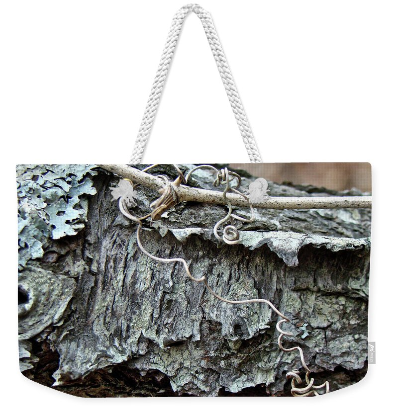Tree Weekender Tote Bag featuring the photograph Bark - Lichen - Cat Brier Tendrils by Mother Nature