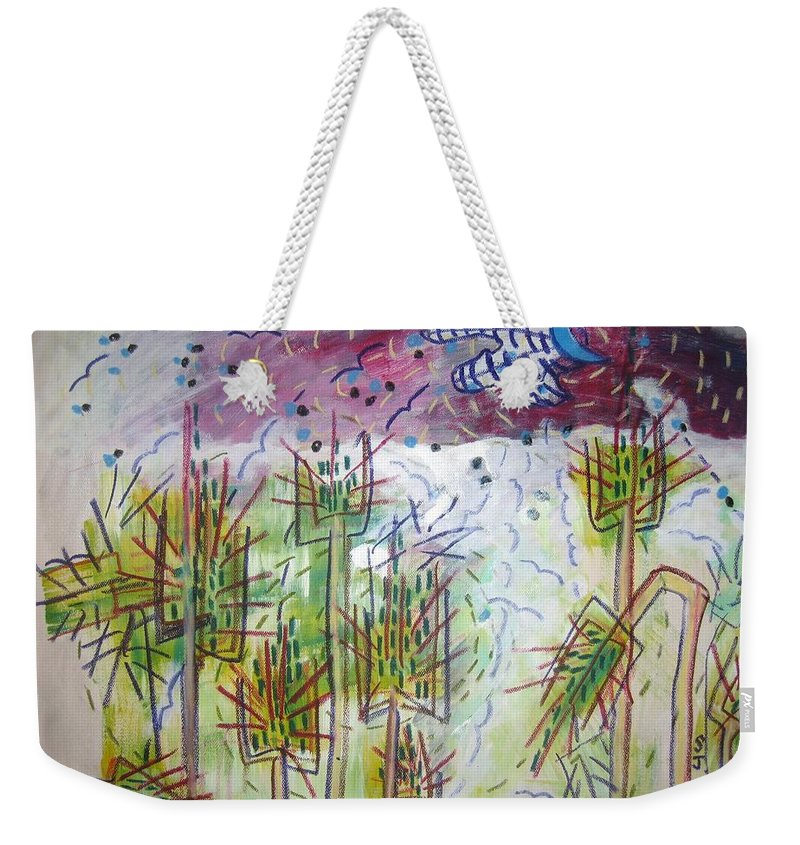 Barly Paintings Weekender Tote Bag featuring the painting Barly And The Blue Moon by Seon-Jeong Kim