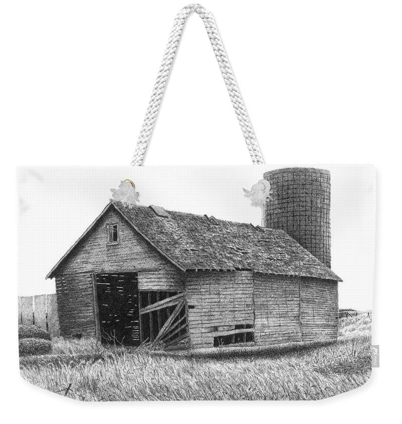Barn Weekender Tote Bag featuring the drawing Barn 19 by Joel Lueck