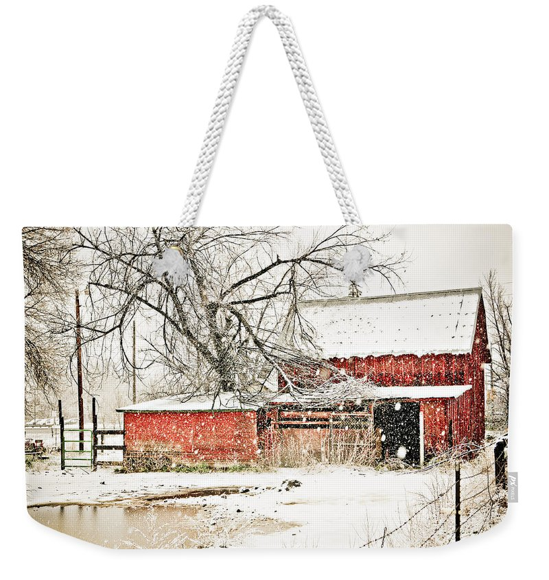 Americana Weekender Tote Bag featuring the photograph Barn And Pond by Marilyn Hunt