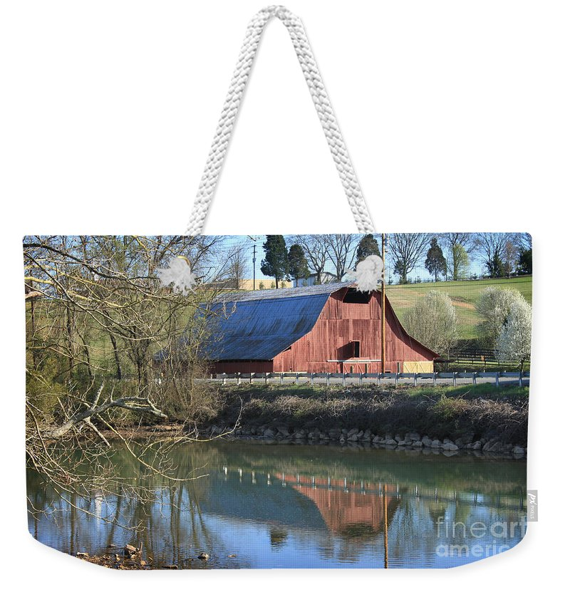 Landscape Weekender Tote Bag featuring the photograph Barn And Reflections by Todd Blanchard