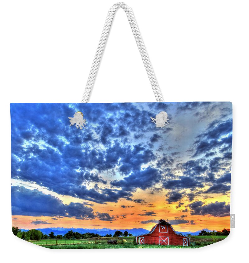 Colorado Weekender Tote Bag featuring the photograph Barn And Sky by Scott Mahon