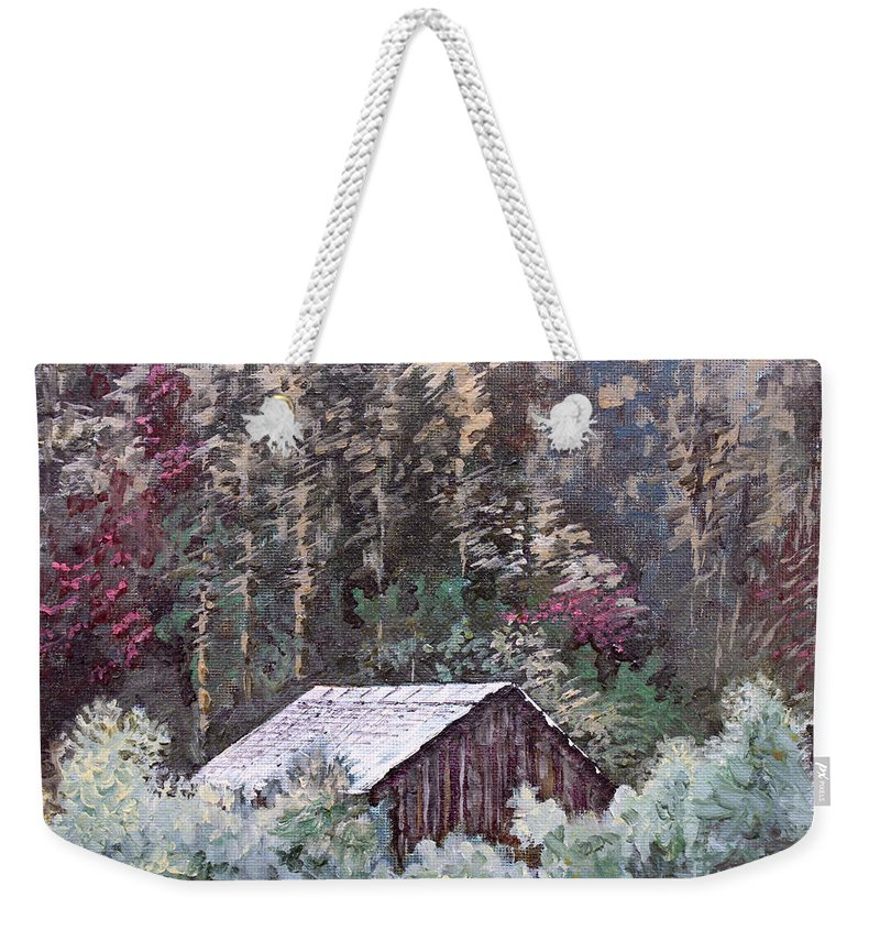 Landscape Weekender Tote Bag featuring the painting Barn At Cades Cove by Todd A Blanchard