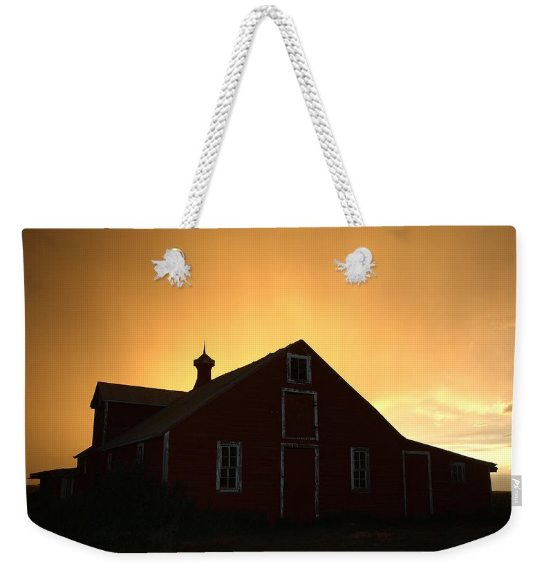 Barn Weekender Tote Bag featuring the photograph Barn At Sunset by Jerry McElroy